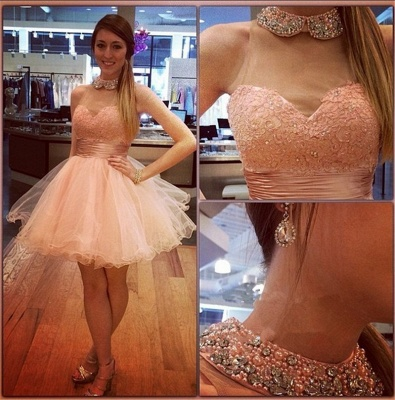 Bling Bling High-Neck Tulle Homecoming Dress UK Lace With Crystals_3