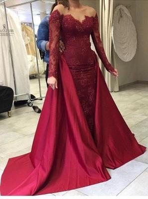Gorgeous Long Sleeve Burgundy 2108 Evening Dress UK Lace Mermaid With Ruffles_1