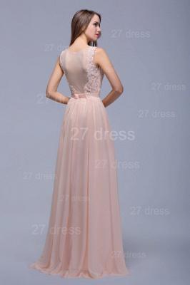 Sexy Illusion Chiffon Evening Dress UK Lace Appliques Floor-length_2