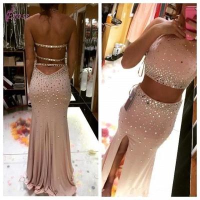 Luxury Two Pieces Prom Dress UKes UK Slit Crystal Floor Length_4
