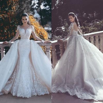 Elegant Long Sleeve Lace Wedding Dress Sexy Mermaid On Sale_3