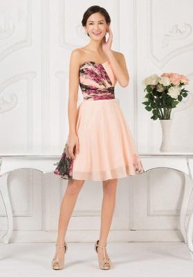 Sexy Summer Beach Short Homecoming Dress UKes UK Print Chiffon Sweetheart Pleats Prom Dress UKes UK_4
