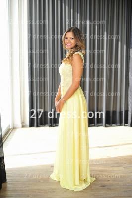 Long Vestido De Festa Longo Lace Evening Dress UKes UK Chiffon Yellow Cap Sleeve Pearls Prom Dress UK With High Collar_3