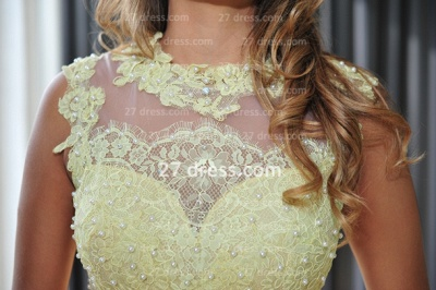 Long Vestido De Festa Longo Lace Evening Dress UKes UK Chiffon Yellow Cap Sleeve Pearls Prom Dress UK With High Collar_4