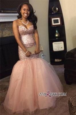 Luxury Sequins Pink Sweetheart Mermaid Tulle Sleeveless Prom Dress UKes UK BA5113 BK0_1