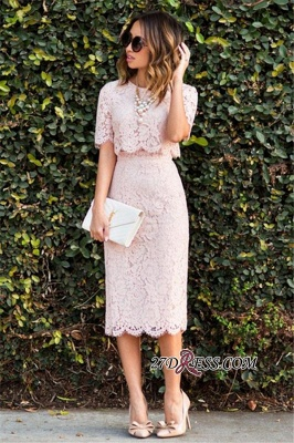 Cute Two-Piece Short-Sleeve Fashion Pink Lace Short Homecoming Dress UKes UK BA6003_2