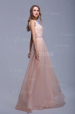 Sexy Illusion Chiffon Evening Dress UK Lace Appliques Floor-length_1
