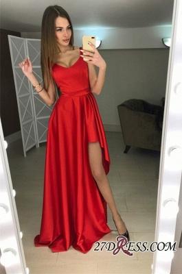 A-line Hi-Lo Sleeveless Red Modern Scoop Prom Dress UK_2