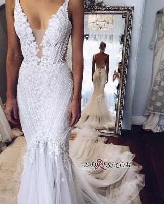 Appliques V-Neck Elegant Sexy Mermaid Open-Back Wedding Dress BA4391_2