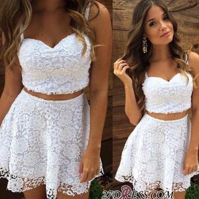 Lace A-line White Top Short Two-Piece-Summer-Women-Dress UK_2