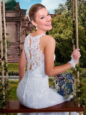 Delicate Illusion Sexy Mermaid Tulle Wedding Dress With Lace Appliques_4
