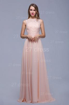 Sexy Illusion Chiffon Evening Dress UK Lace Appliques Floor-length_5