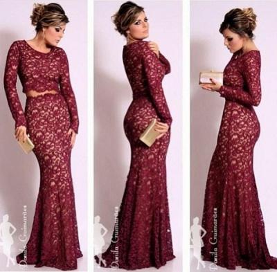Beautiful Dark Red Lace Evening Dress UKes UK with Waistband Sheath_1