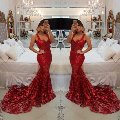 Modest Red Straps Mermaid Sweep Train Evening Dress UK | Lace Party Gown_3
