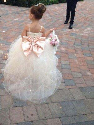 Lovely Spaghetti Strap Tulle Princess Flower Girl Dress Bowknot_2