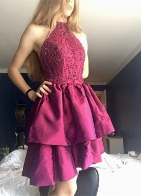 Gorgeous High-Neck Short Prom Dress UK | Beadings Homecoming Dress UK On Sale_1