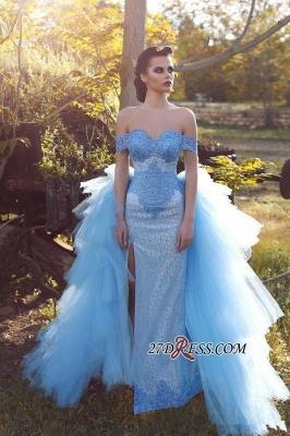 Blue Gorgeous Off-the-shoulder Lace Tulle Evening Dress UK_2