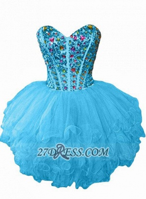 Luxurious Sweetheart Sleeveless Cocktail Dress UK Colorful Crystals Lace-up Organza Short Homecoming Dress UK_4