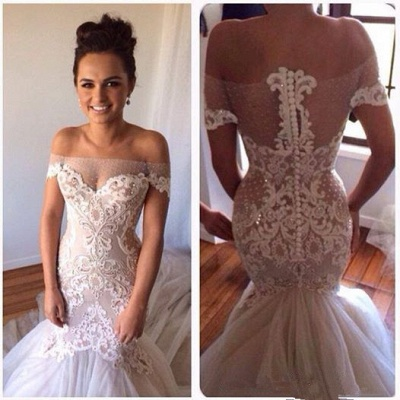 Delicate Lace Appliques Sexy Mermaid Wedding Dress Beadss Zipper Button Back_2