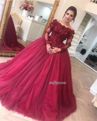 Luxury Ball Gown Applique Long Sleeve Burgundy Off-the-Shoulder Prom Dress UKes UK BA7967_1