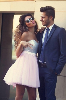 Modern Sweetheart Sleeveless Short Homecoming Dress UK With Bowknot Sequins MH_1