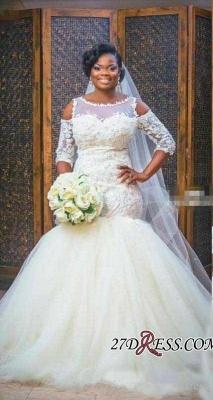 Tulle Appliques Sexy Mermaid Half-Sleeves Newest Scoop Neckline Elegant Wedding Dress_4