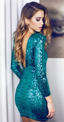Elegant Long Sleeve V-Neck Short Prom Dress UK Sequins Short Homecoming Dress UK_3