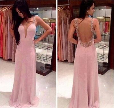 Prom Dress UKes UK Deep V Neck Straps Pink Sheer Back Beading Sweep Train Evening Giowns BA2137_1