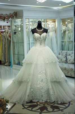 Elegant Three Layers Tulle Wedding Dress Sequins Beadss_1