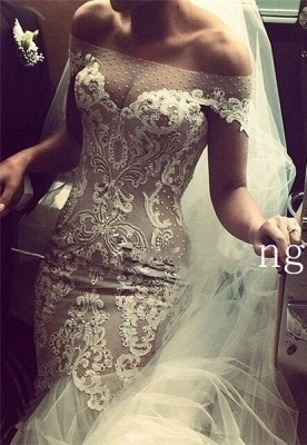 Delicate Lace Appliques Sexy Mermaid Wedding Dress Beadss Zipper Button Back_1
