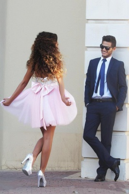Modern Sweetheart Sleeveless Short Homecoming Dress UK With Bowknot Sequins MH_3