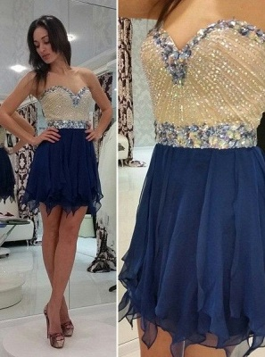 Timeless Sweetheart Chiffon Short Homecoming Dress UK Crystal Beads Party Gowns_1