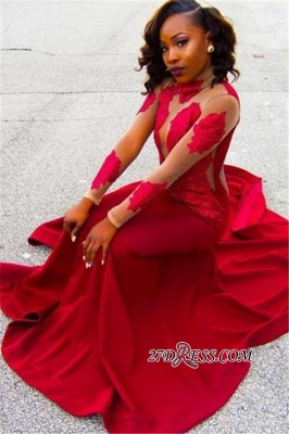 Sheath High-Neck Red Long-Sleeve Poprlar Lace Appliques Prom Dress UK BK0_2