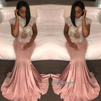 Pretty High-Neck Crystal Mermaid Cap-Sleeve Prom Dress UK BK0_1