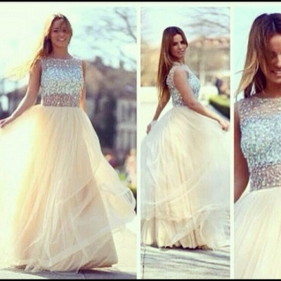 Newest A-line Tulle Prom Dress UKes UK Crystals Evening Party Gowns With Beadings_2