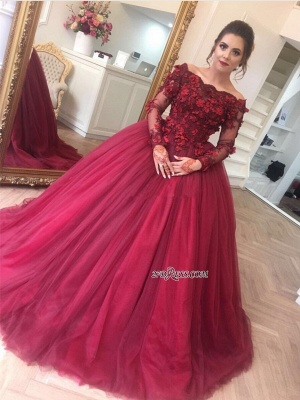 Luxury Ball Gown Applique Long Sleeve Burgundy Off-the-Shoulder Prom Dress UKes UK BA7967_2