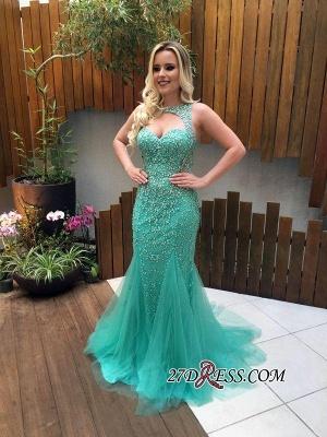 Beads Mermaid Tulle Zipper Luxury Sleeveless Prom Dress UK_2