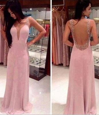 Prom Dress UKes UK Deep V Neck Straps Pink Sheer Back Beading Sweep Train Evening Giowns BA2137_2