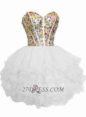 Luxurious Sweetheart Sleeveless Cocktail Dress UK Colorful Crystals Lace-up Organza Short Homecoming Dress UK_3