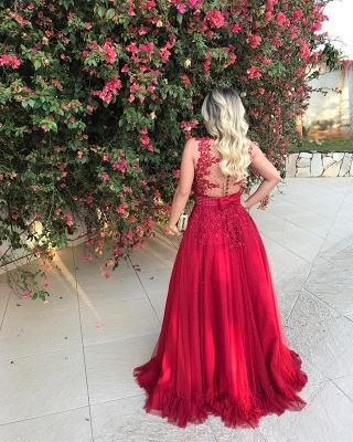 Red Sleeveless Lace Evening Dress UK With Beadings Long BMT BA7607_3