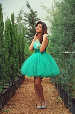 Newest Tulle Princess Short Green Homecoming Dress UK With Appliques_1