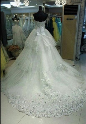 Elegant Three Layers Tulle Wedding Dress Sequins Beadss_2