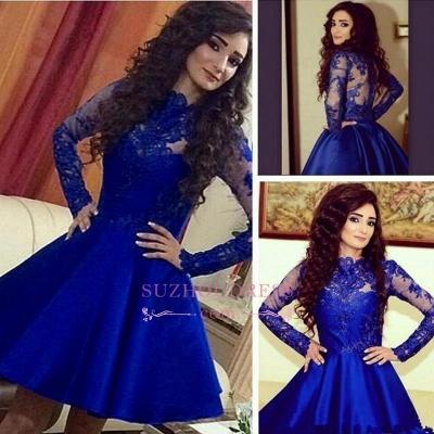 Royal-Blue A-Line Lace Short Long-Sleeve Cute Homecoming Dress UKes UK BA3800_1