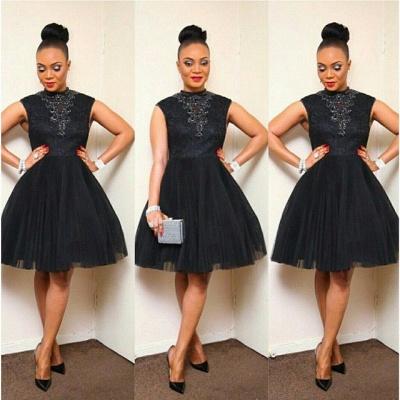 Elegant Black Short Tulle Prom Dress UK Appliques High Neck_2