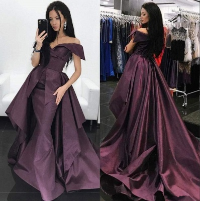 Gorgeous Off-the-Shoulder Mermaid Evening Dress UK Long With Ruffles_3