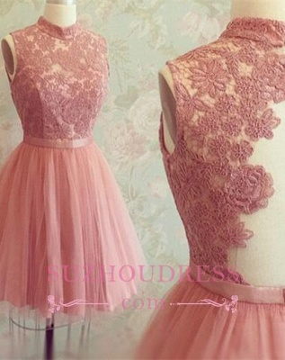 High-Neck Mini Lace Appliques Newest Sleeveless Homecoming Dress UK_1