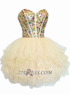 Luxurious Sweetheart Sleeveless Cocktail Dress UK Colorful Crystals Lace-up Organza Short Homecoming Dress UK_1