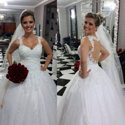 Stunning Straps Sweetheart Wedding Dresses UK Lace Appliques Bridal Ball Gowns_2