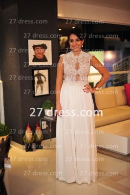 White Lace Gowns for Evenings Chiffon Vestidos De Fiesta Cap Sleeves Nude Back Prom Dress UKes UK_1