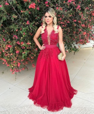 Red Sleeveless Lace Evening Dress UK With Beadings Long BMT BA7607_1